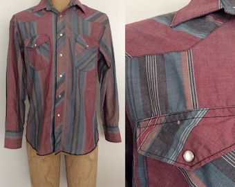 1980's Wrangler Striped Cotton Pearl Snap Button Up Mens Vintage Size Medium by Maeberry Vintage