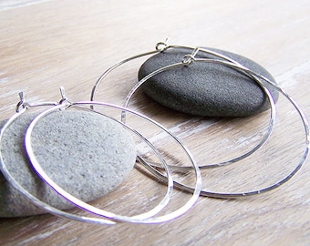 Sterling Silver Hoop Earring Set - 2 Pair Sterling Silver Hoops - Hammered Sterling Silver Hoop Earrings - Boho Hoops