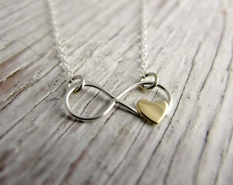 Infinity Necklace, Gold Heart, Sterling Silver, Gift for Her, Anniversary Gift, Love Has No Bounds