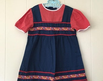 15% OFF - 1970's sears navy red dress with ric rac trim, floral embroidery & polka dots - size 6x