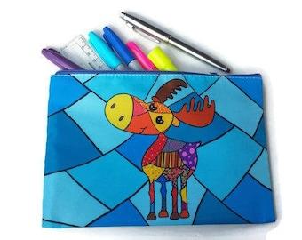 Pencil holder, pencil case, moose bag, pouch, purse, case, makeup pouch, Cosmetic bag, makeup bag