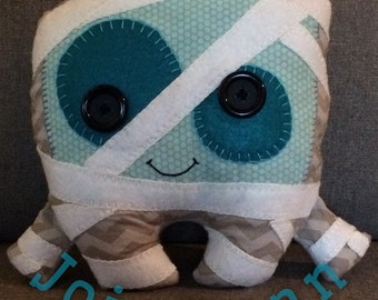 Halloween monster handmade stuffed mummy