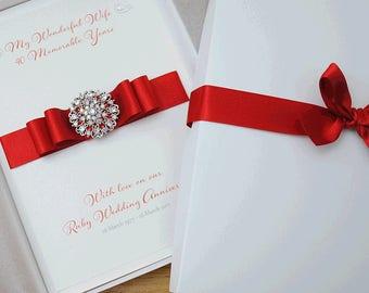 Ruby wedding etsy large a5 luxury ruby wedding anniversary card 40th wedding anniversary card gift boxed card handmade anniversary card stopboris Gallery