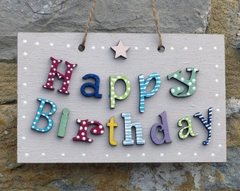 Hand Painted Happy Birthday Plaque Perfect alternative to a birthday card Style B