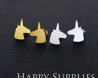 Nickel Free - High Quality Unicorn Dual-used Golden / Silver Brass Earring Post Finding with Ear Stud Stopper (ZEN129)