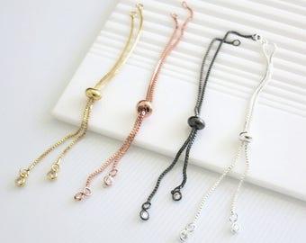 5 pcs, Sliding Adjustable Bracelet Chain, 5% off CZ charm bracelet Chain, Gold plated Chain/ Rose Gold chain/ Silver plated chain /gunmetal