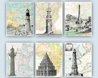 Lighthouse Art, Nautical poster, Lighthouse posters, Sailing Center Decor, Bathroom Decor, Beach cottage decor, Gift for sailors, set of 6