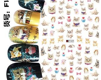Lovely cupcake kitty nail decal sticker sheet x 1