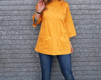 Mustard Gold Retro Mod Long Bell Sleeve Collared Shirt with Pockets Yellow Shirt Vintage Top Plus Size Shirt Maternity Shirt A Line Top