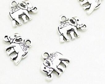x 2 silver elephant charm