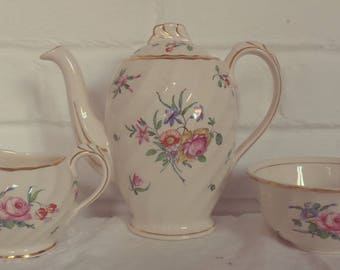Very Pretty Vintage Cream and Pink Floral Coffee / Tea pot set with sugar bowl and creamer with gold gilding,  afternoon tea, vintage tea se