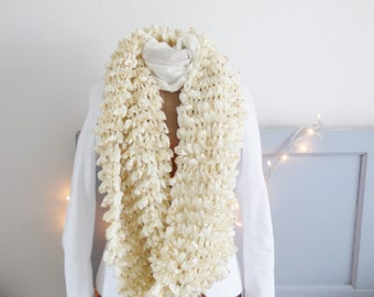 Off white infinity scarf, maxi snood, hand knitted, scarf, knitting, loop scarf, handmade, christmas gift, birthday gift, mylmelo
