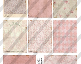 Digital Collage Sheet Victorian Pink Background Images (Sheet no. O203) Instant Download