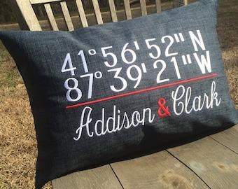 Cubs Wrigley Field coordinates pillow