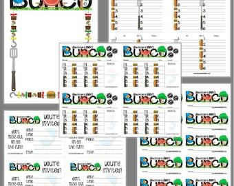 Backyard BBQ Bunco Printable Set, Teacher Bunco Score Cards & Tally Sheet, Instant Download, Editable Bunco Invites