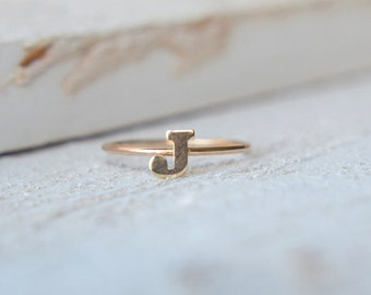 14k Letter Ring- Personalized Ring, Initial Stacking Ring, Stackable Ring, Gold Initial Ring, Gold Letter Ring, Mothers Ring, Couples Ring