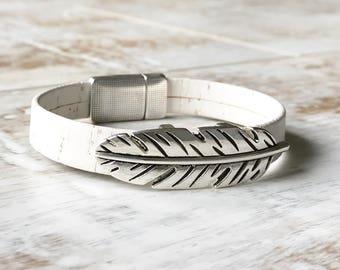 Feather Bracelet, Feather Cuff Bracelet, White Cork Bracelet, Stackable Bracelet, Magnetic Clasp