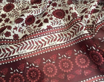 Sheer Border Print Fabric in Red/Rust, Border Print by the Yard, Fabric by the Yard, Border Fabric Yardage
