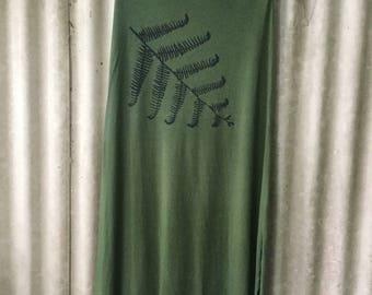 Organic Bamboo Fibre Skirt screenprinted with Tree Fern design Size L