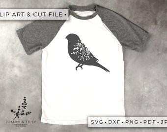 Bird No.2 Silhouette - Clipart & Cut File - Hand Papercutting - Cricut / Silhouette - SVG DXF PNG Pdf Jpg - Kids Children Nursery