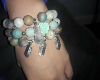 Matte Amazonite beaded bracelet
