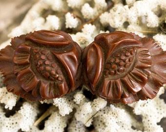 Brown Floral Bakelite Pin
