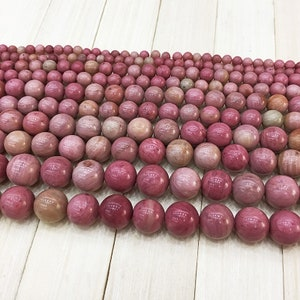 "Round Rhodonite Beads , Gemstone Beads , Smooth Beads , Semiprecious Stone Beads , Bracelet Beads  (size 4/6/8/10/12mm) 15.5"" Full Strand"