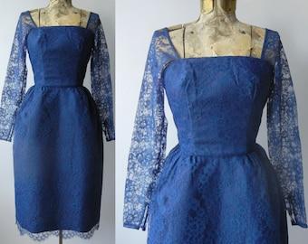 Vintage 1950s Blue Lace Dress, Cocktail, Wedding