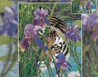 Tiger Needlepoint Kit*Peeking Tiger*30907*11 x 14*14 Count*Wayne Weberbauer*Candamar Designs*Out of Print*Cotton Floss*Needle*Instructions