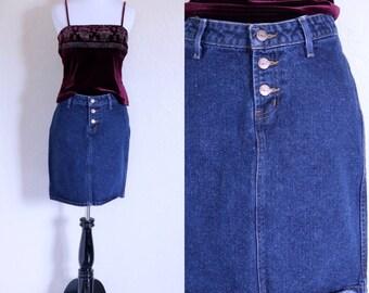 Vtg Blue Jean Skirt Denim Mini Skirt Vintage Denim Skirt Dark Denim Skirt Blue Denim Skirt Jean Mini Skirt Vintage Jean Skirt Button Up