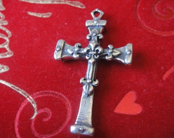 925 sterling silver oxidized with detailed design large fleur de lis cross charm or pendant,silver cross,large cross