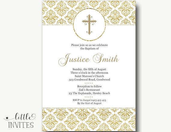 Baptism Invitations for boy and girlWhite and Gold Damask