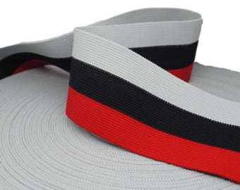 """1 yd Red, Black and Gray Striped Elastic - 2 1/2"""" (AC23)"""