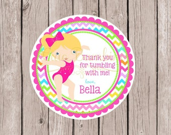 PRINTABLE Gymnastics Birthday Party Favor Tags / Choose Hair and Skin Color / Print Your Own Personalized Gymnastics Stickers / You Print