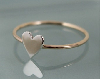 Tiny Heart Ring 14k SOLID Gold 1mm Band with Sterling Silver Hand Cut Heart Stacking Ring
