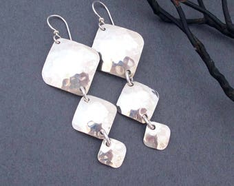 Sterling Silver Square Earrings Hammered Silver 3 Square Dangle Earrings Long Earrings Handmade Modern Metal Jewelry Greek Goddess Jewelry