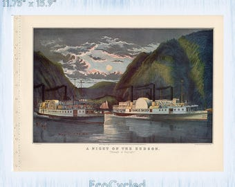 Americana Currier & Ives Vintage Lithograph Print Night on the Hudson Paddlewheel Steamboat Paper Ephemera Book Page ready 2 frame print z33