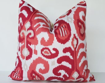 Decorative Pillow 18x18'' berry and coral Ikat Accent Pillow Throw Pillow Cushion cover