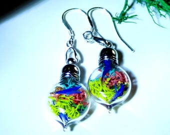 Tiny Flora and Moss; Terrarium jewelry; earrings; sterling silver; waterdrop earrings; flowers; nature; blue; moss