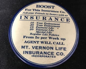 Early 1900s Mt. Vernon Life Insurance Promotional Item