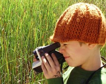 Crochet Newsboy Cap in Orange - winter hats for men - winter hats for boys - crochet Gatsby hats
