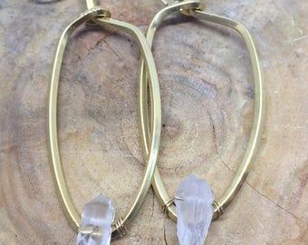 Brass and quartz earrings