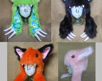 Big furry monster hat - short ears CUSTOM ORDER