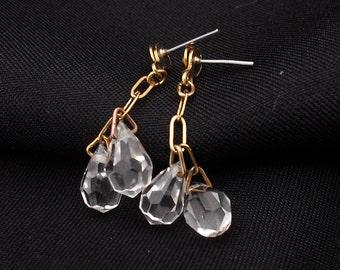 Tiny Crystal Brioloette Dangle Earrings - Vintage Posts