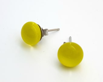 Lemongrass Fused Glass Mini Stud Earrings