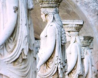 Statues, Italy, Hadrian's Villa, Villa Adriana, white statues, Tivoli Italy, fine art photography, travel photography, home decor, wall art