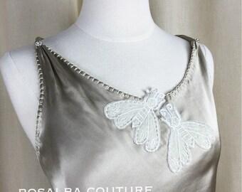 Silk Top, Bias Top, Bridal Top, Draped Silk Top, Bees, Applique, Bridal Couture, Asymmetrical Top, Open Back Top, Rosalba Valentino Couture