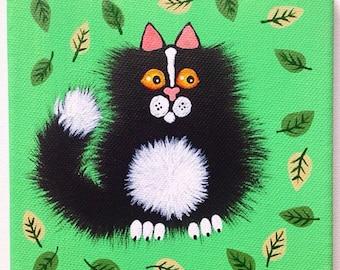 "Original Fuzzy Black and White Cat on Canvas 6"" x 6"" / 15 cm x 15 cm"