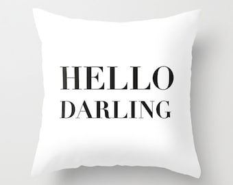 Hello Darling Velvet Pillow Cover, Black and White Cushion, Dorm Pillows, Girls Room Decor, Dorm Bedding, Teen Girl Room Decor, 18x18, 22x22