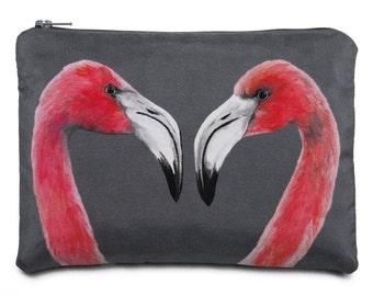 Flamingos Silk Printed Zipped Pouch - handmade silk & cotton bag